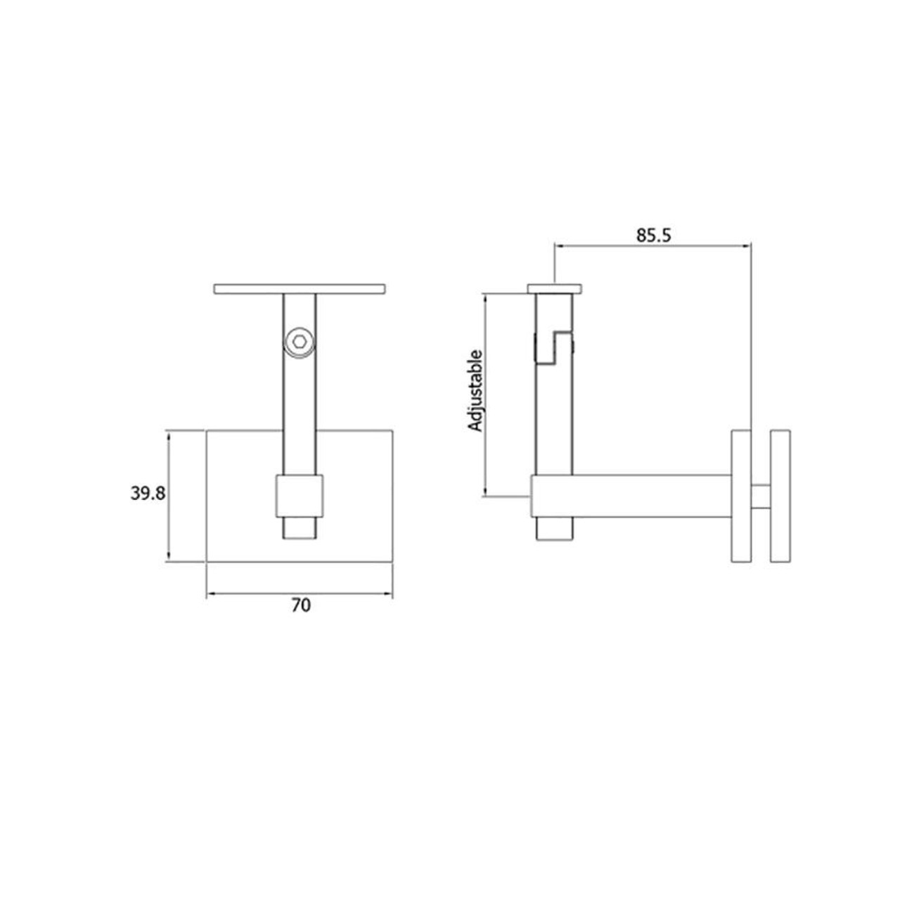 Adjustable Handrail Support for Glass (AX20.005.034.A.SP) CADD