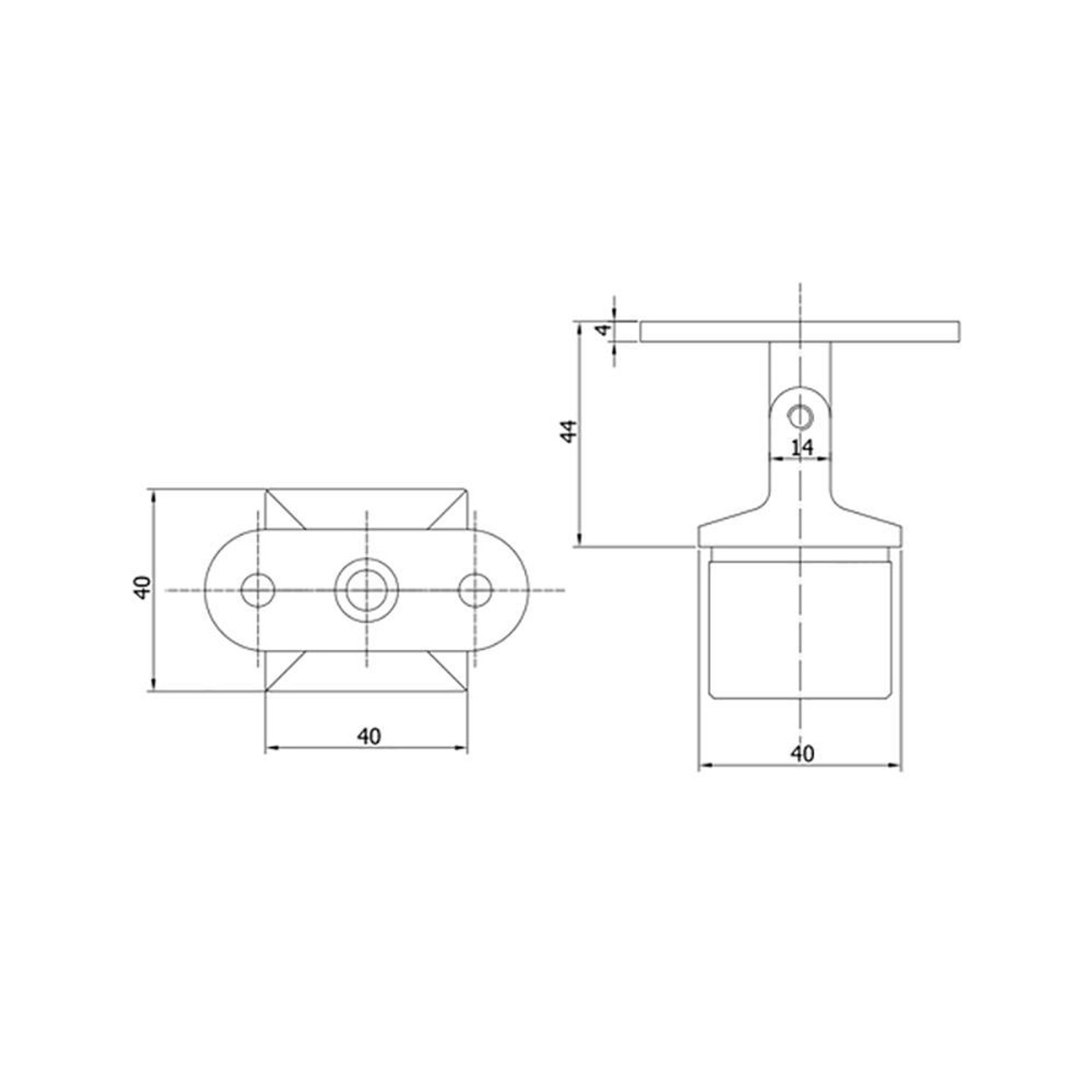 Adjustable Square Post Handrail Support ( AX20.005.031.A.SP) CADD