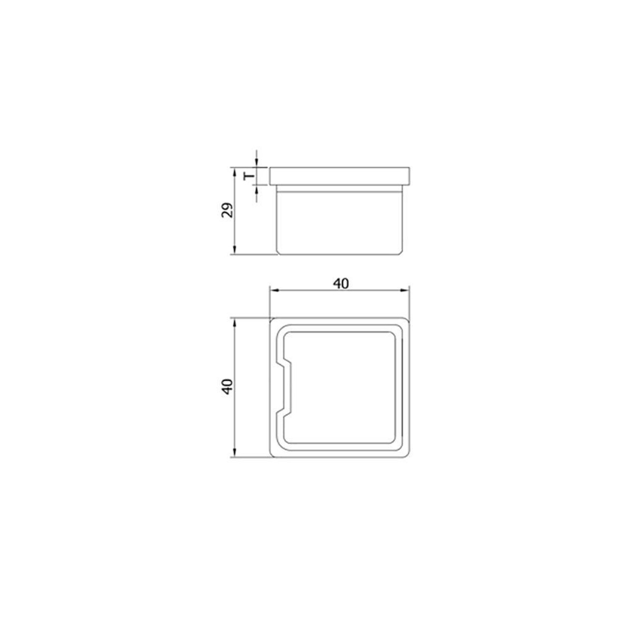 Flat End Cap for Square Rail – 40 x 40 x 2 mm (AX20.007.130.A.SP) CADD