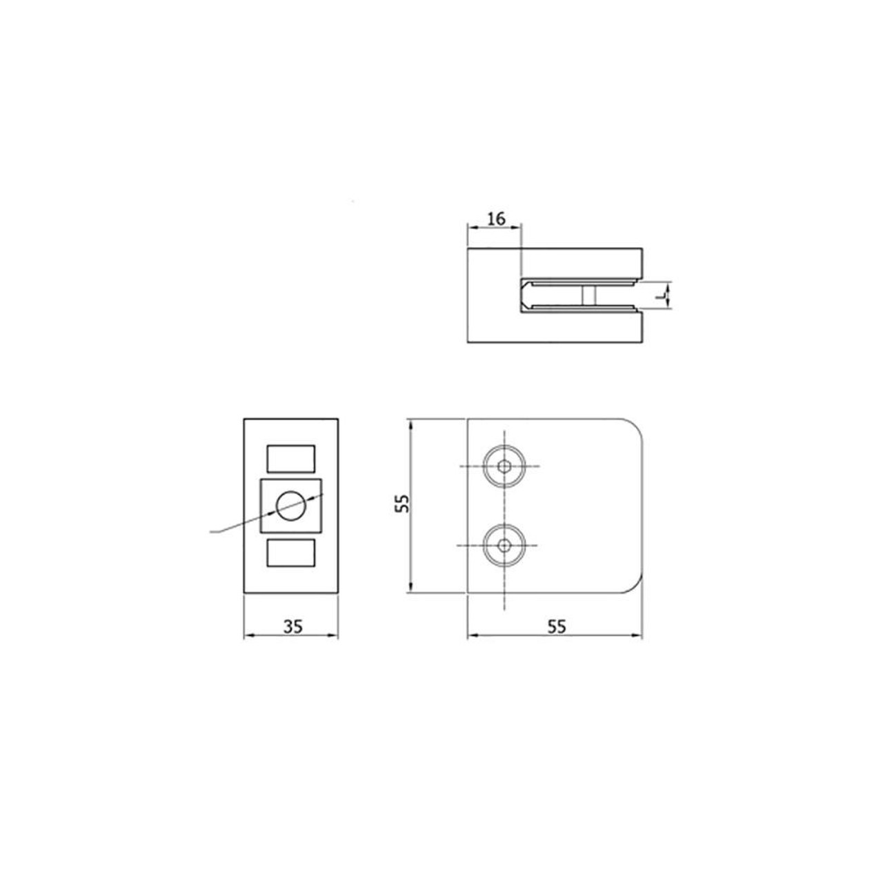 Glass Clamps for Flat Posts (AX20.014.190.A.SP) CADD