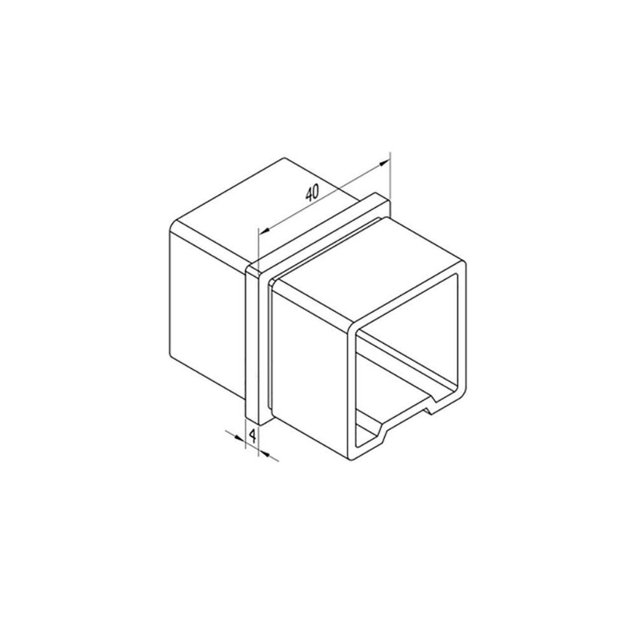 Inline Connector for Square Rail – 40 x 40 x 2 mm (AX20.008.112.A.SP) CADD