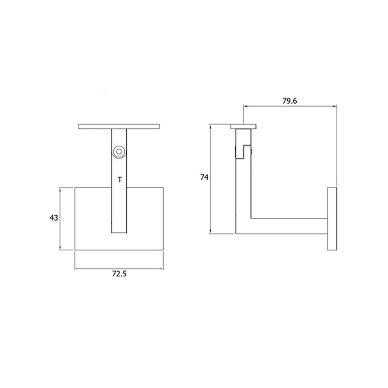 Adjustable Wall Handrail Support for Square or Flat Handrail 74 mm tall (AX20.005.033.A.SP) CADD
