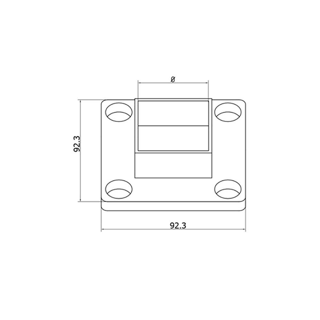 Wall Mount Flange for Square Rail – 40 x 40 x 2 mm (AX20.008.150.A.SP) CADD