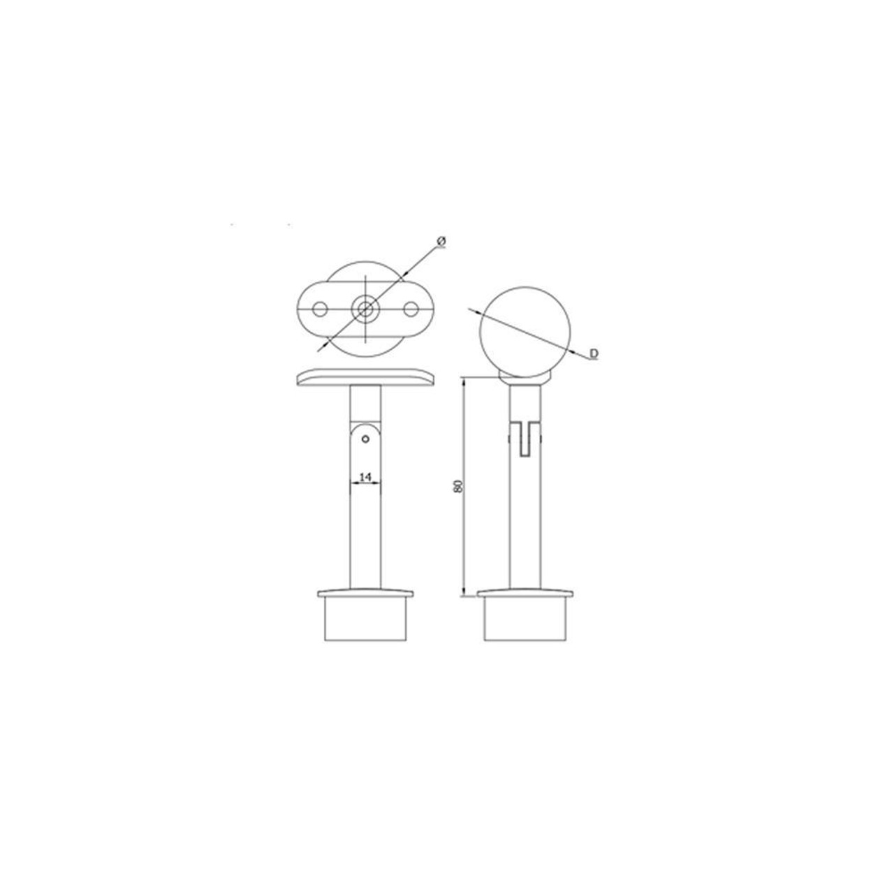 42.4 mm Post Handrail Support – Angle Adjustable CADD