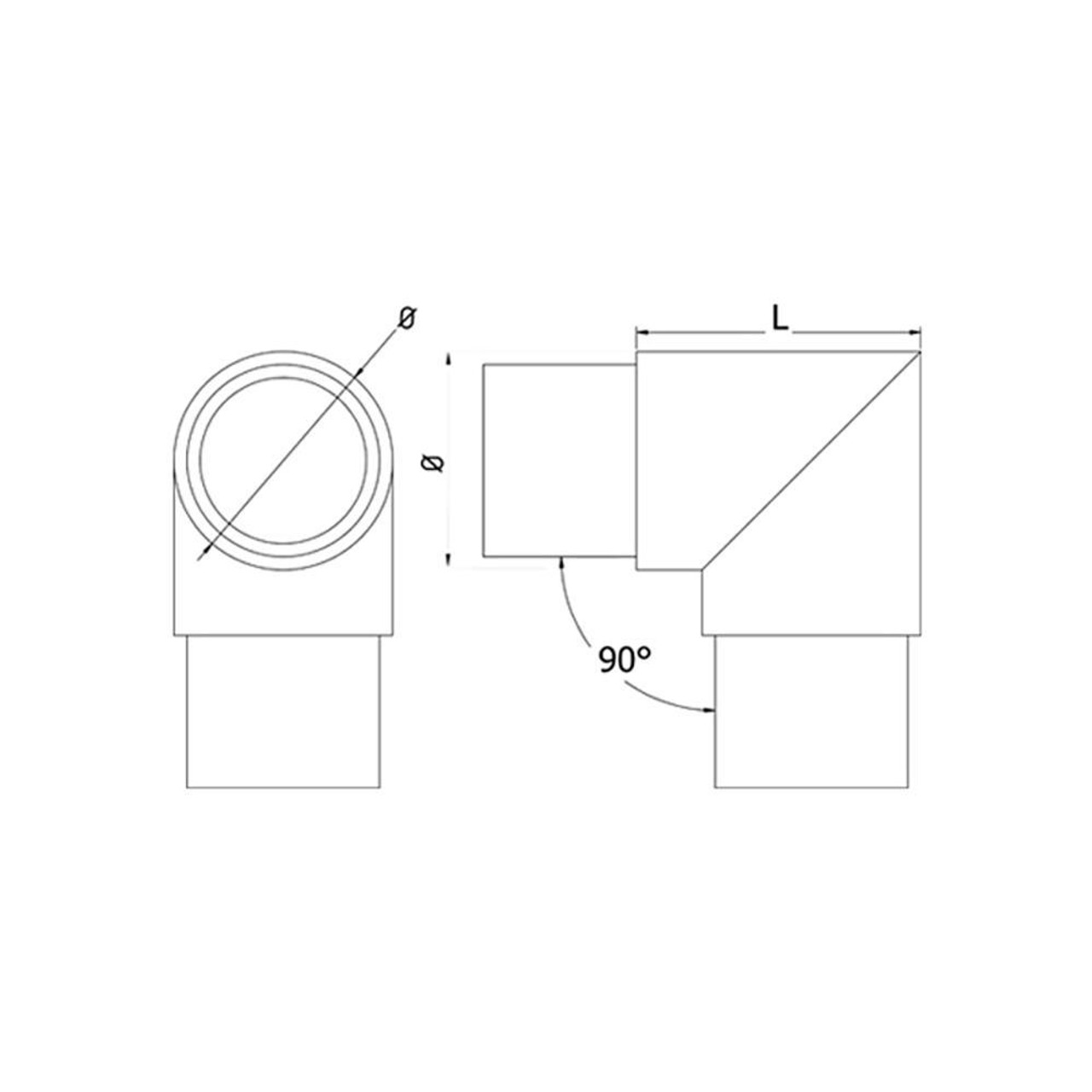 90 Degree Elbow for 42.4 mm Round Handrail, CADD