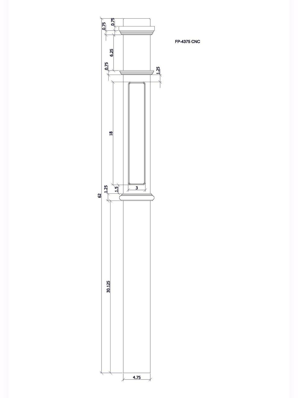 FP-4375 CNC Flat Panel Box Newel Post, CADD Image