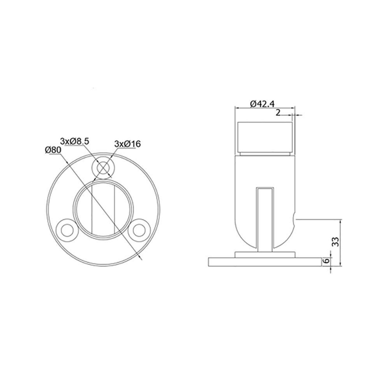 Adjustable Wall Mount Flange for 42.4 mm Round Rail, CADD
