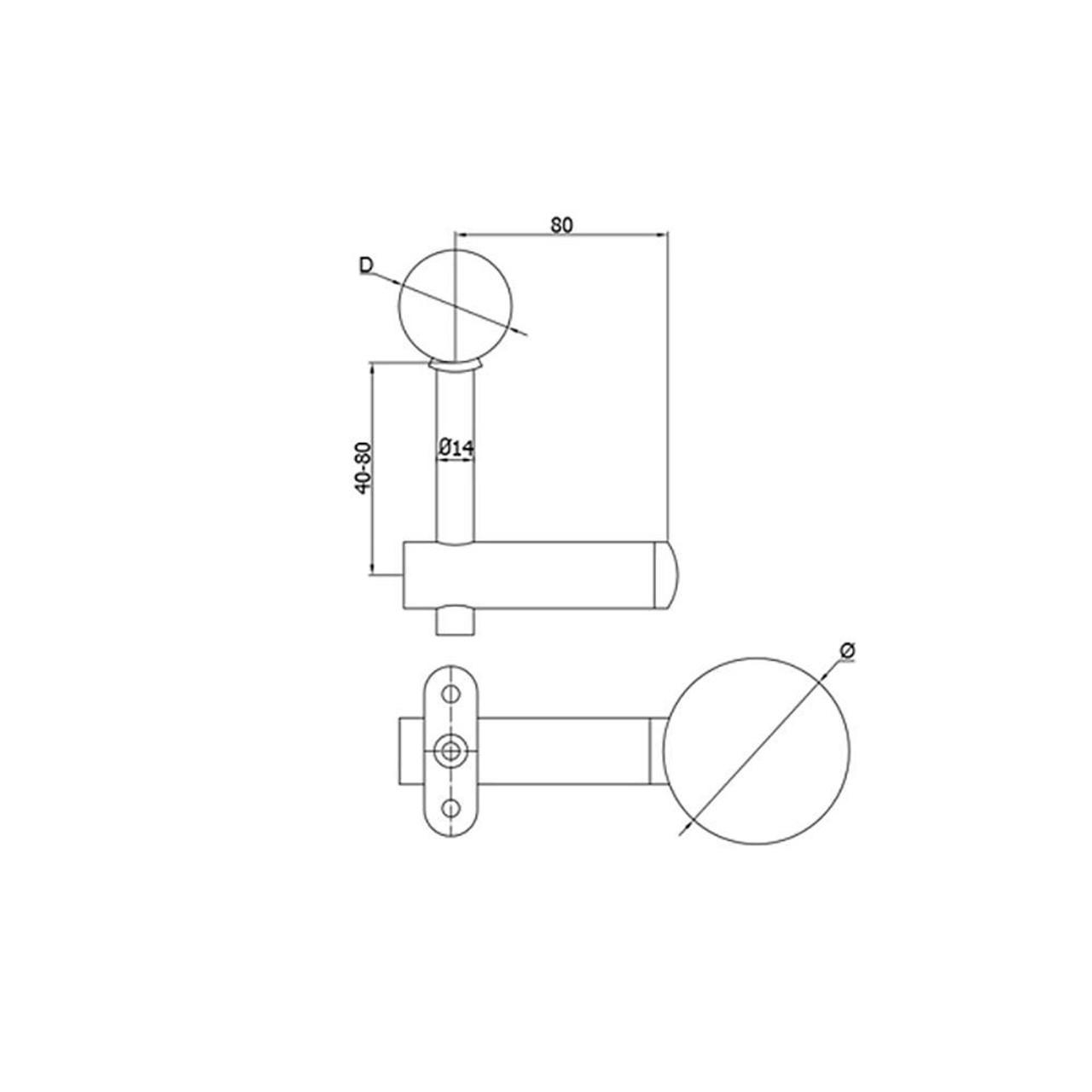 Post Handrail Support Bracket for 42.4 mm Round Rail, CADD