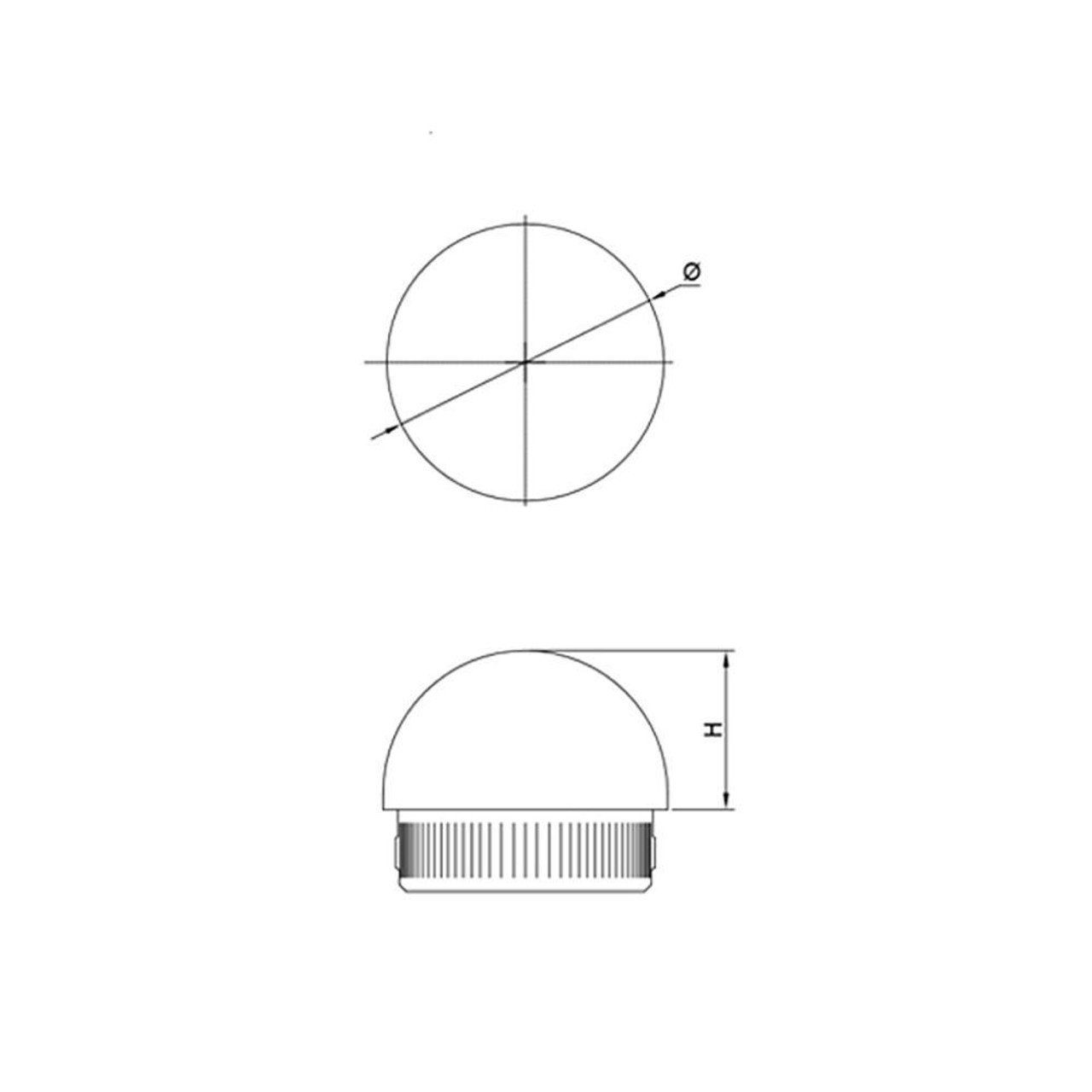 Round End Cap for 42.4 mm Round Rail, CADD