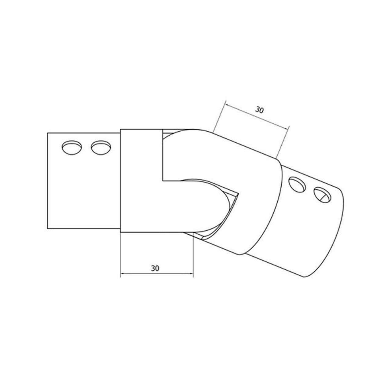 Round Glass Cap Rail Adjustable Fitting Downward (CADD)