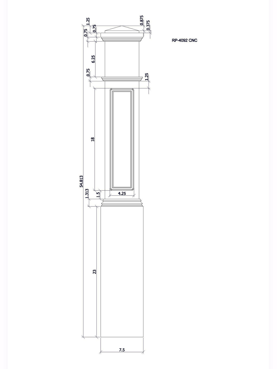 RP-4092 CNC Raised Panel Box Newel Post, CADD Image