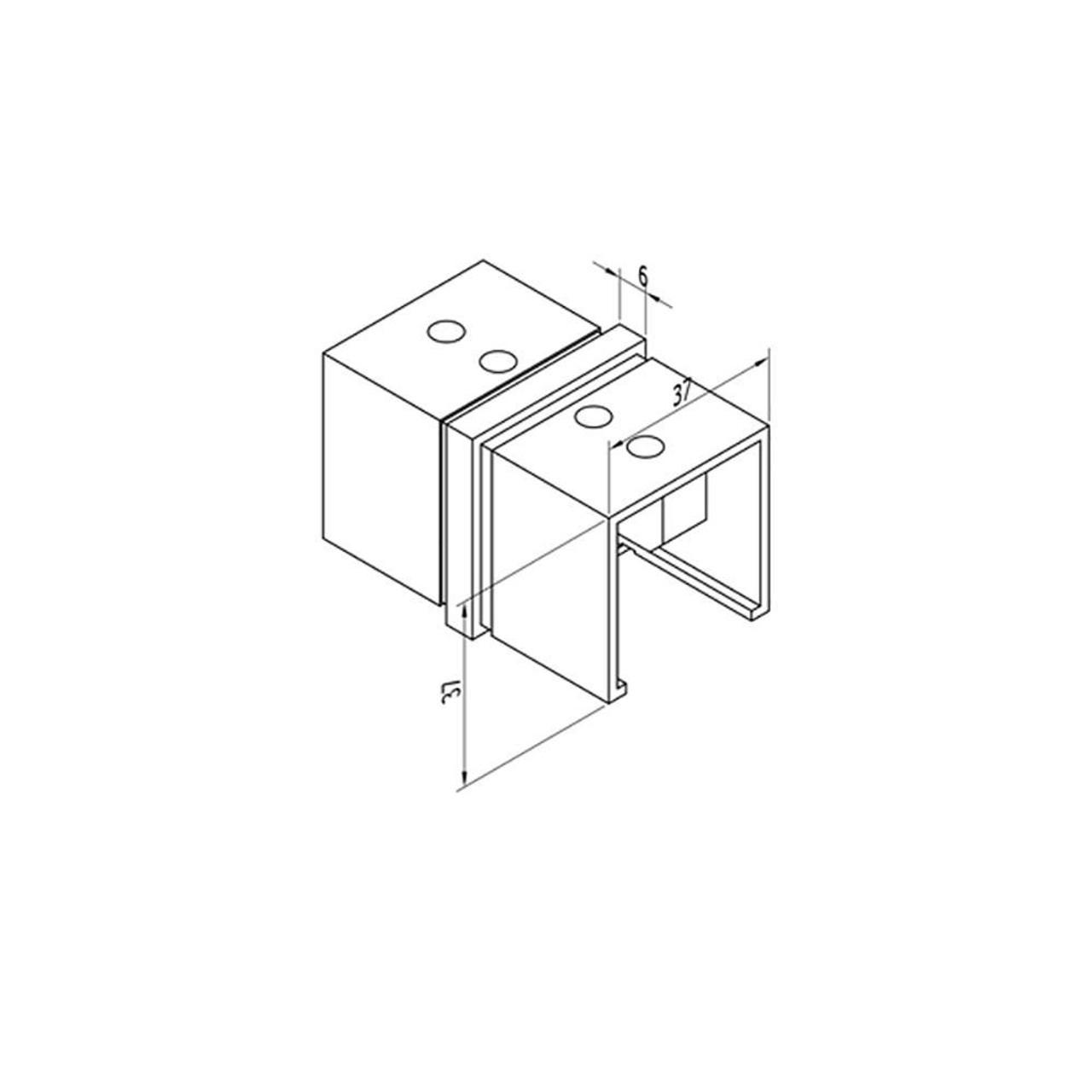 Square Glass Cap Rail Inline Splice Coupler (CADD)