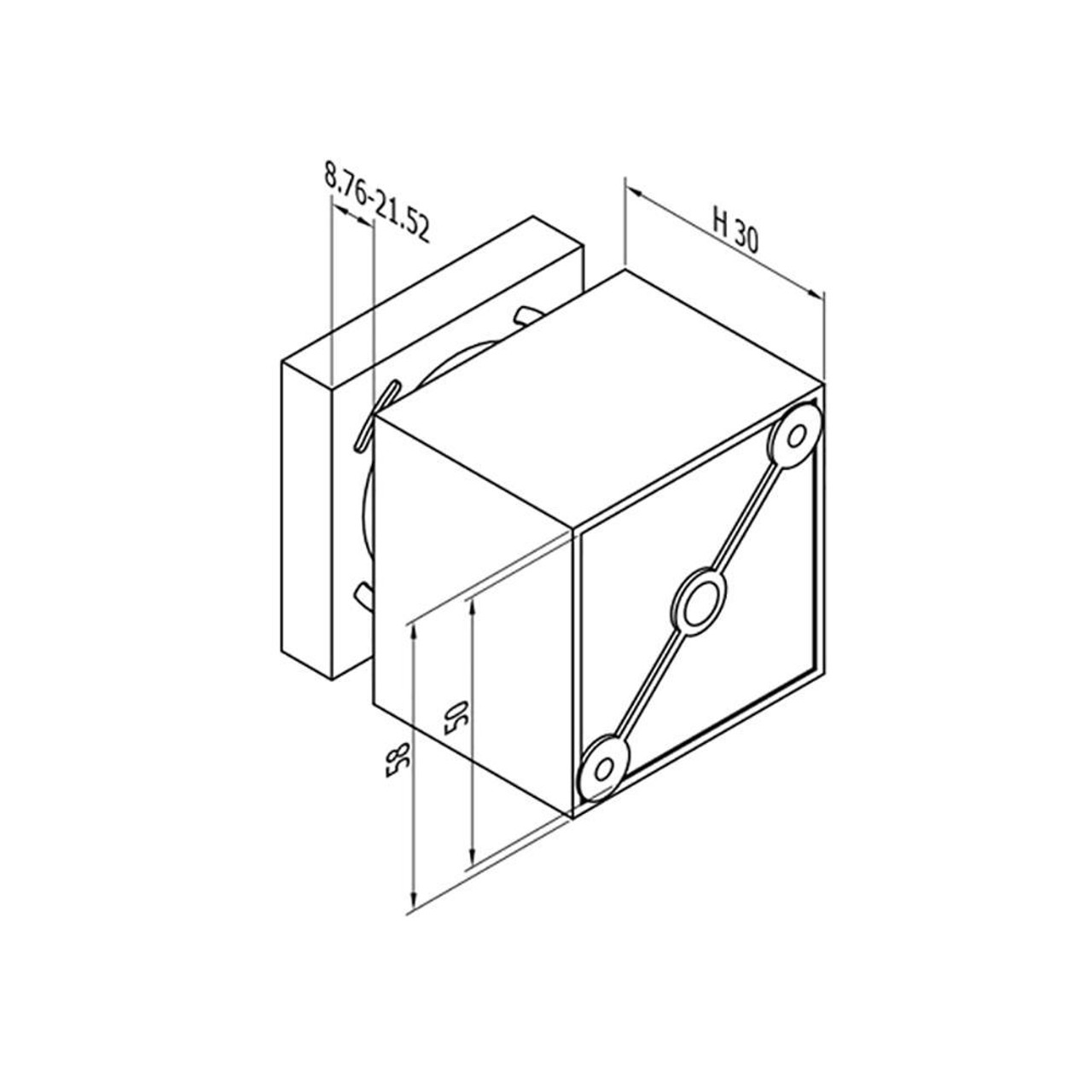 Square Glass Standoff – Fits 8.76 to 21.52 mm glass (CADD)