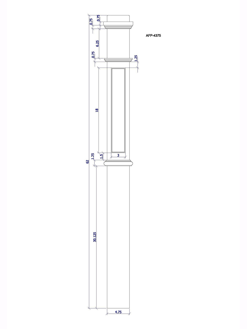 AFP-4375 Box Newel CADD Drawing