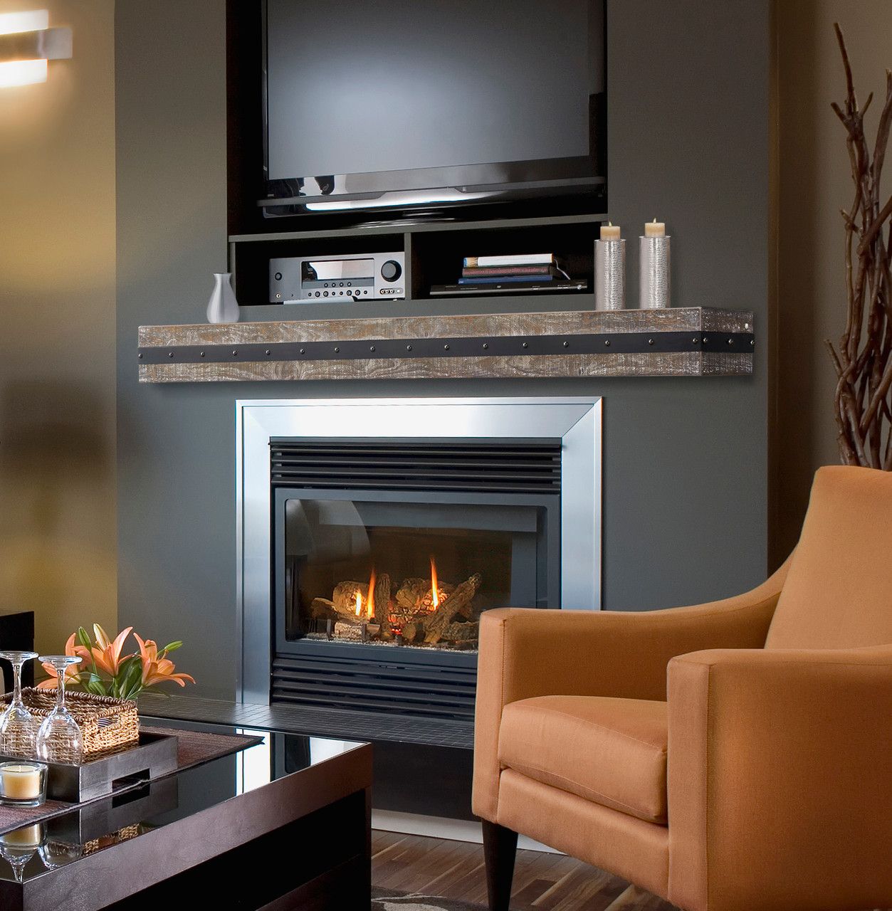 The Bedford Mantel Shelf Gristmill Finish Life Style View