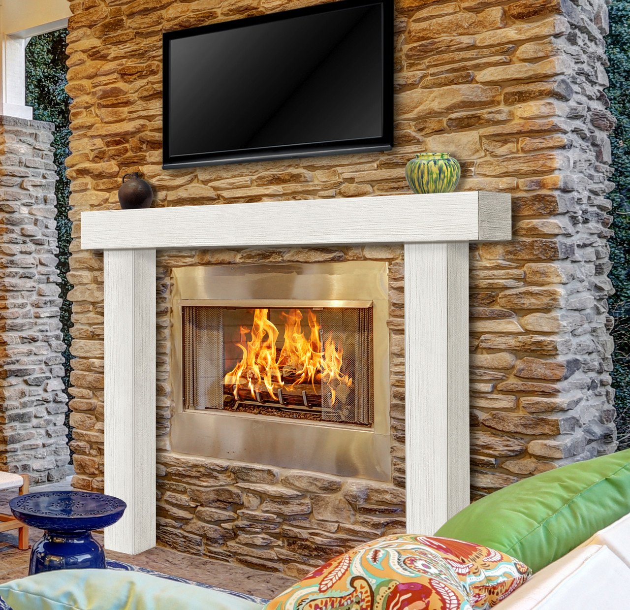 Zachary Non-Combustible Fireplace Mantel Surround Salt (Lifestyle View2)