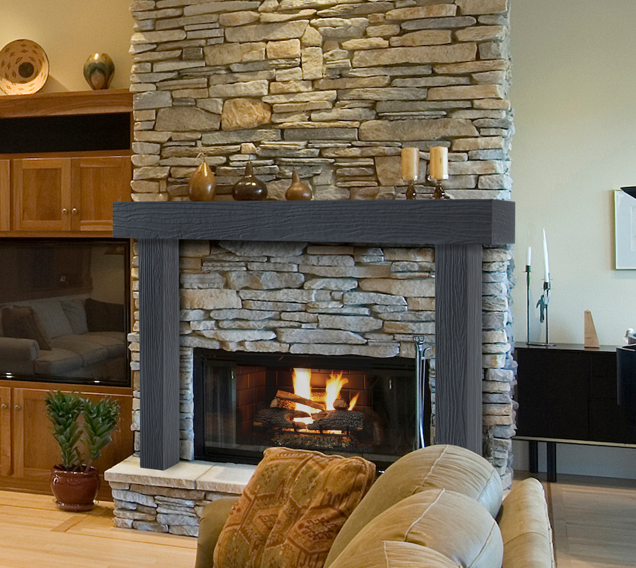 Zachary Non-Combustible Fireplace Mantel Surround Pepper (Lifestyle View1)