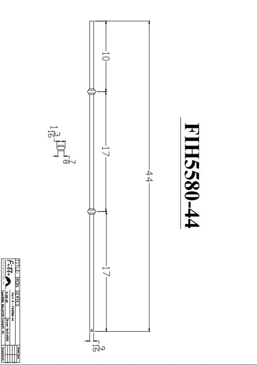 """FIH5580-44 9/16"""" Round Tube Baluster Double Knuckles Cadd Drawing"""