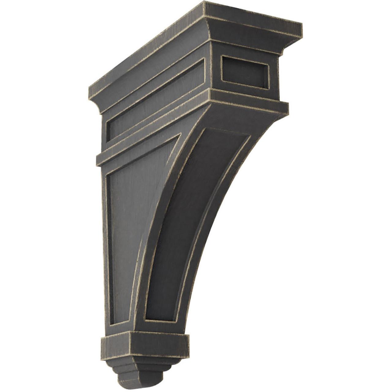 "4""W x 4""D x 12""H Arts and Crafts Wood Vintage Decor Corbel Black"