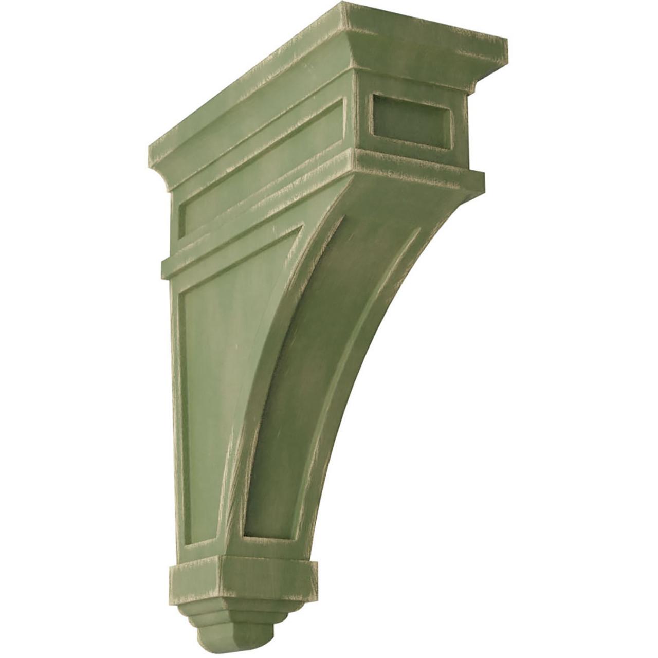 "4""W x 4""D x 12""H Arts and Crafts Wood Vintage Decor Corbel Vintage Green"
