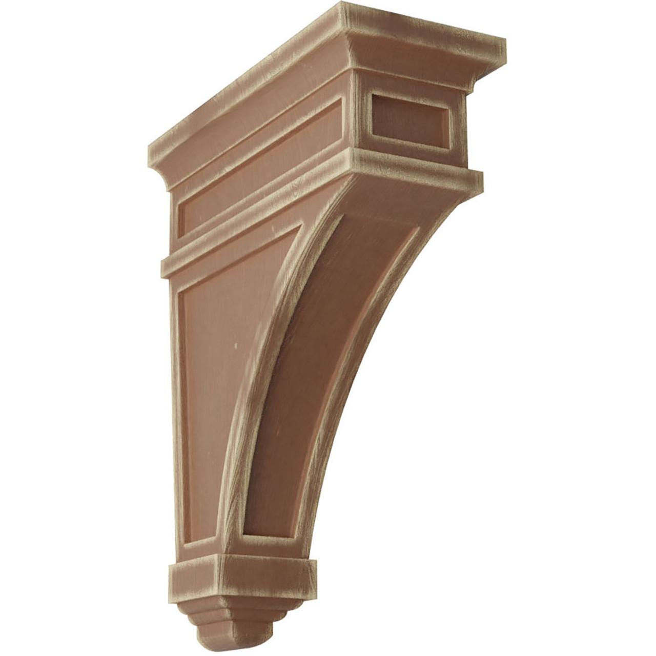 "4""W x 4""D x 12""H Arts and Crafts Wood Vintage Decor Corbel Vintage Brown"