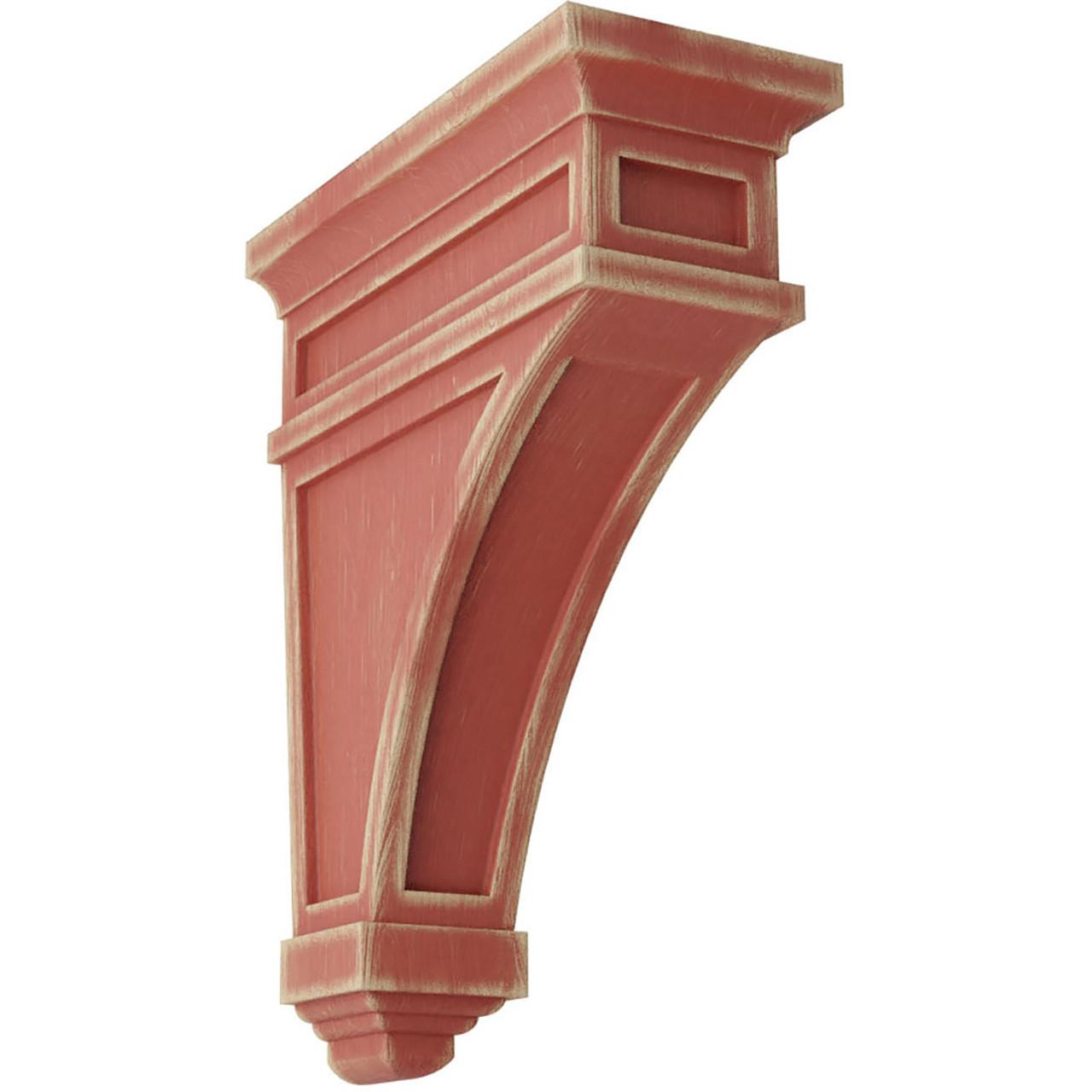 "4""W x 4""D x 12""H Arts and Crafts Wood Vintage Decor Corbel Restoration White"
