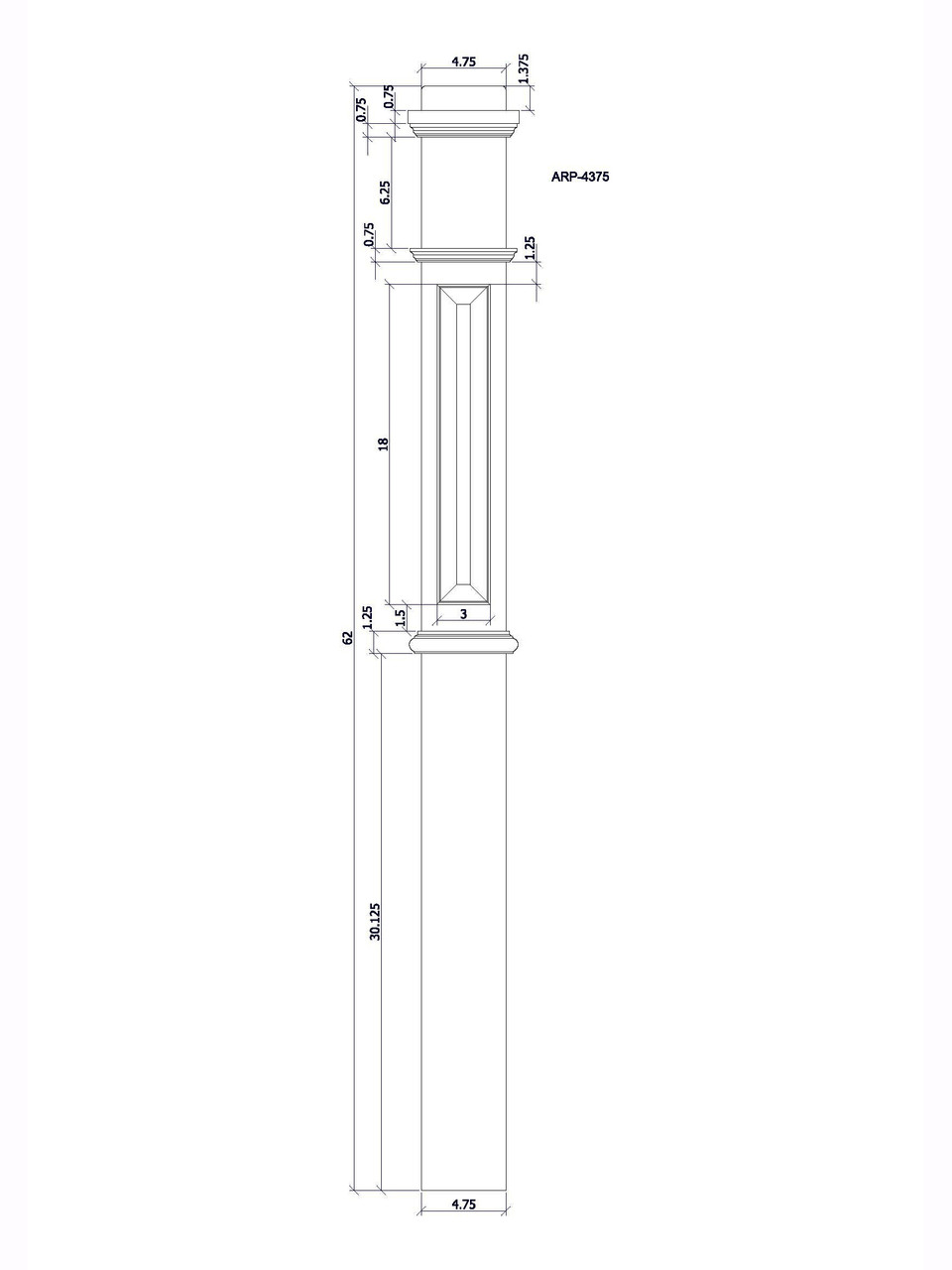 ARP-4375 Box Newel Post CADD image.