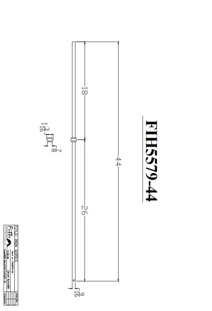 """FIH5579-44 9/16"""" Round Tube Baluster Single Knuckle CADD Drawing"""