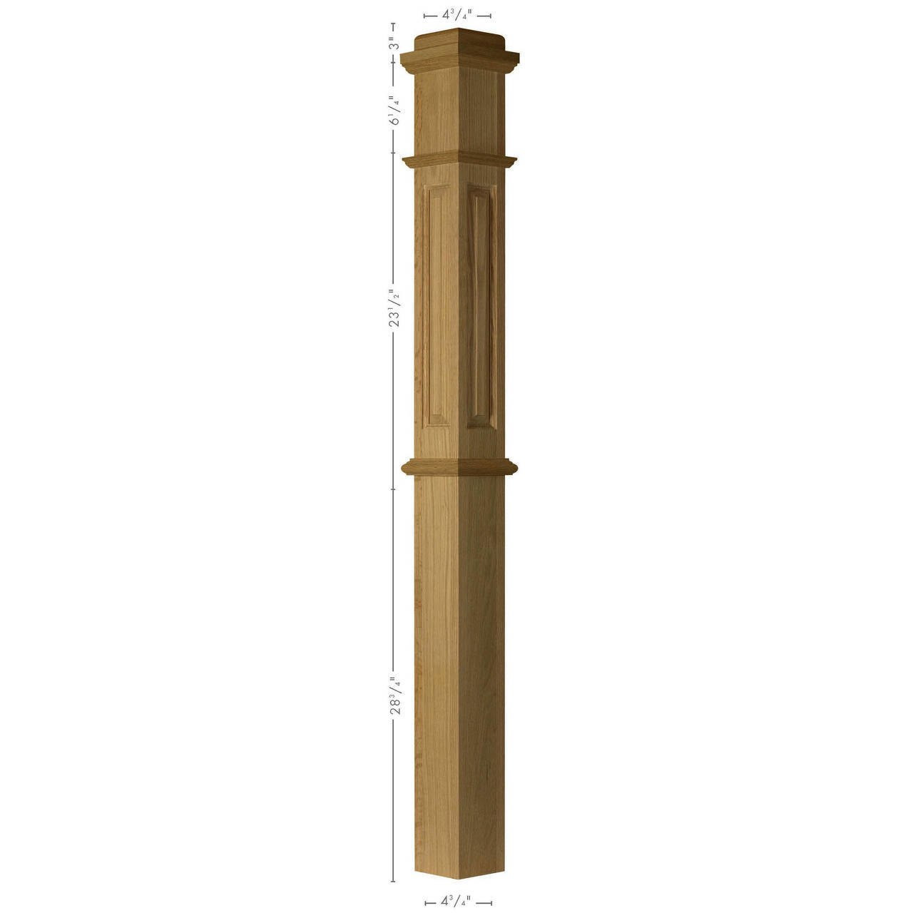 ARP-4375 Hard Maple, Cherry or Hickory Actual Paneled Box Newel Post (2)