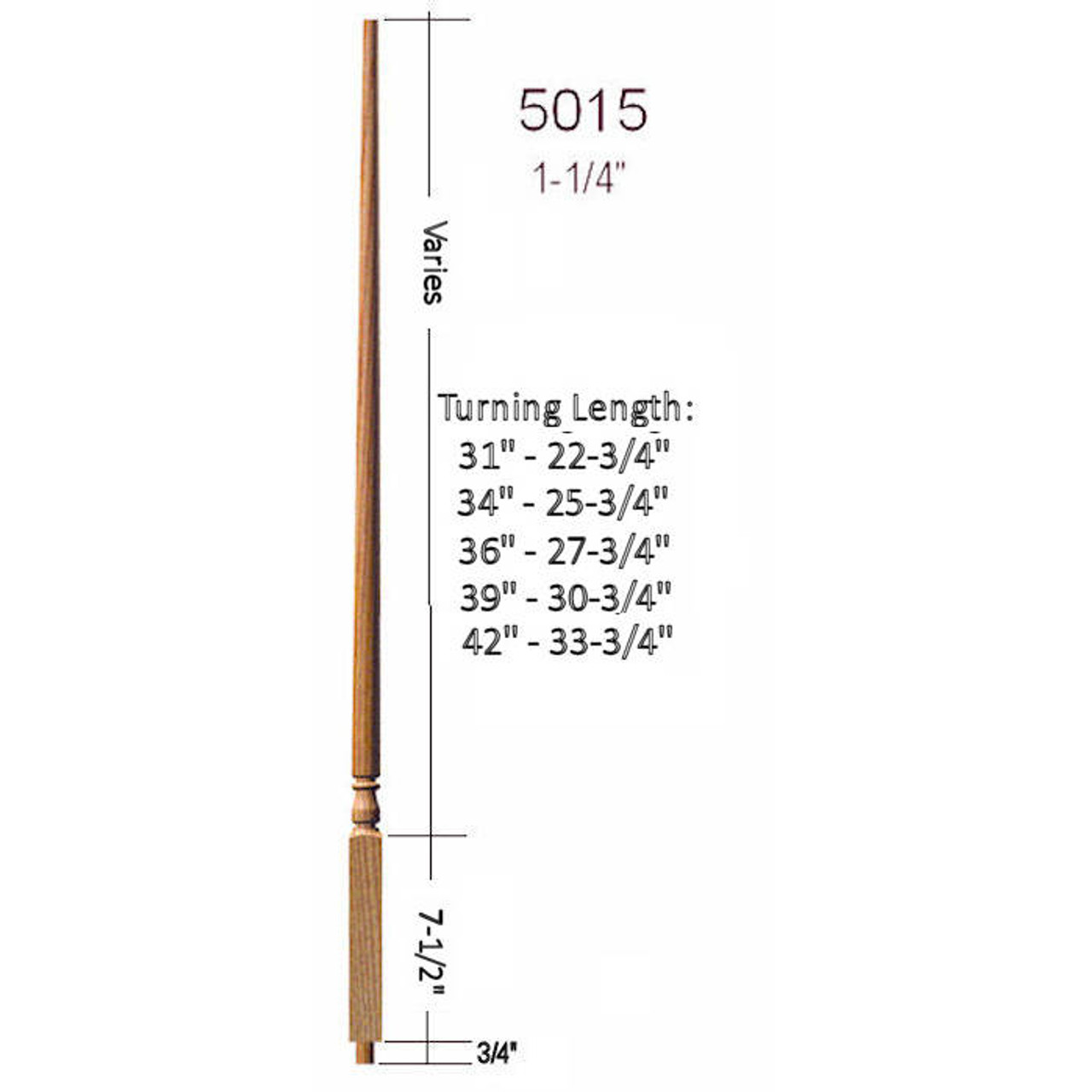 """5015 Colonial Stair Baluster, 1-1/4"""" x 31"""" structural rise Dimensional Information"""