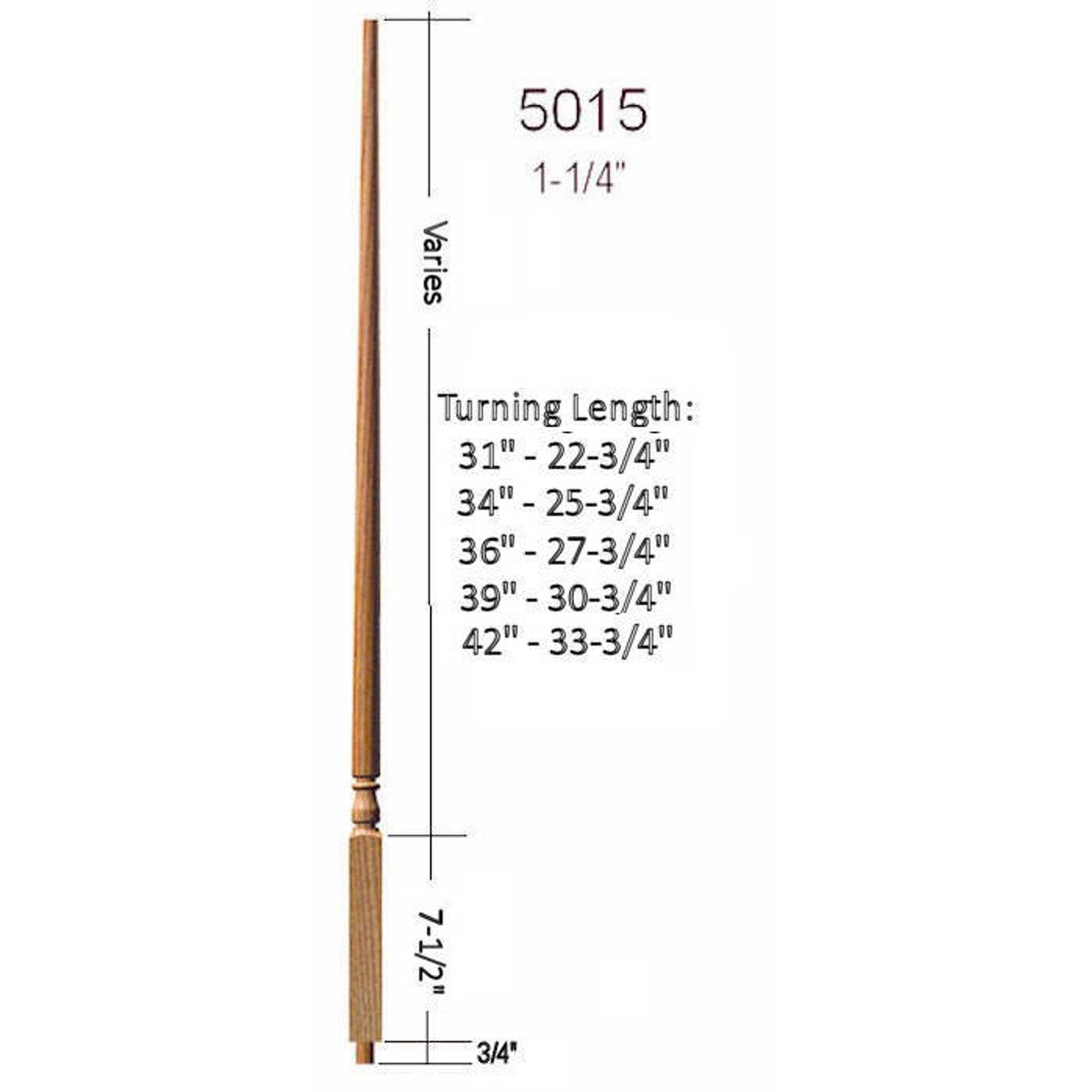 "5015 Colonial Stair Baluster, 1-1/4"" x 34"" Structural Rise"