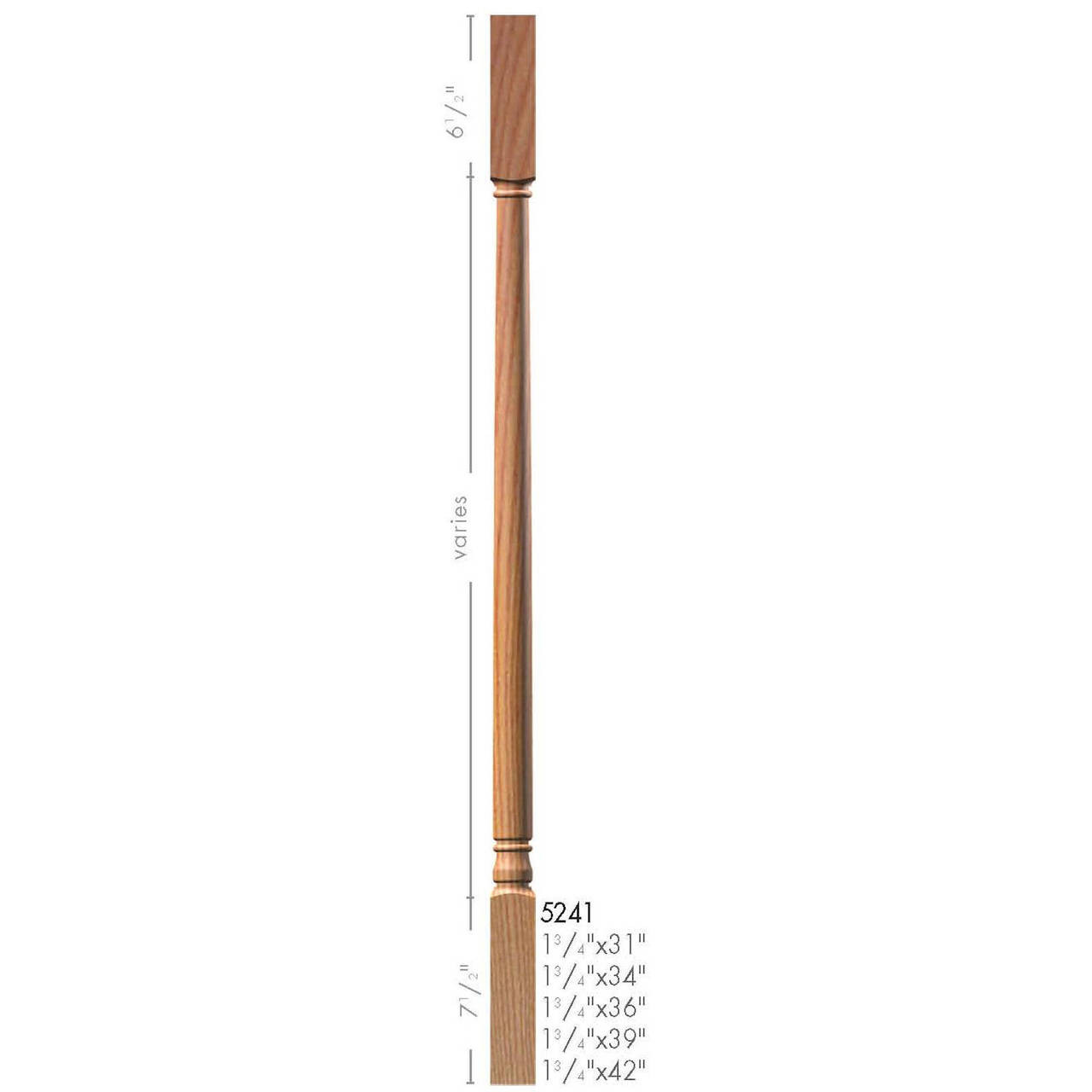 """5241 34"""" Colonial Square Top Baluster Dimensional Information"""