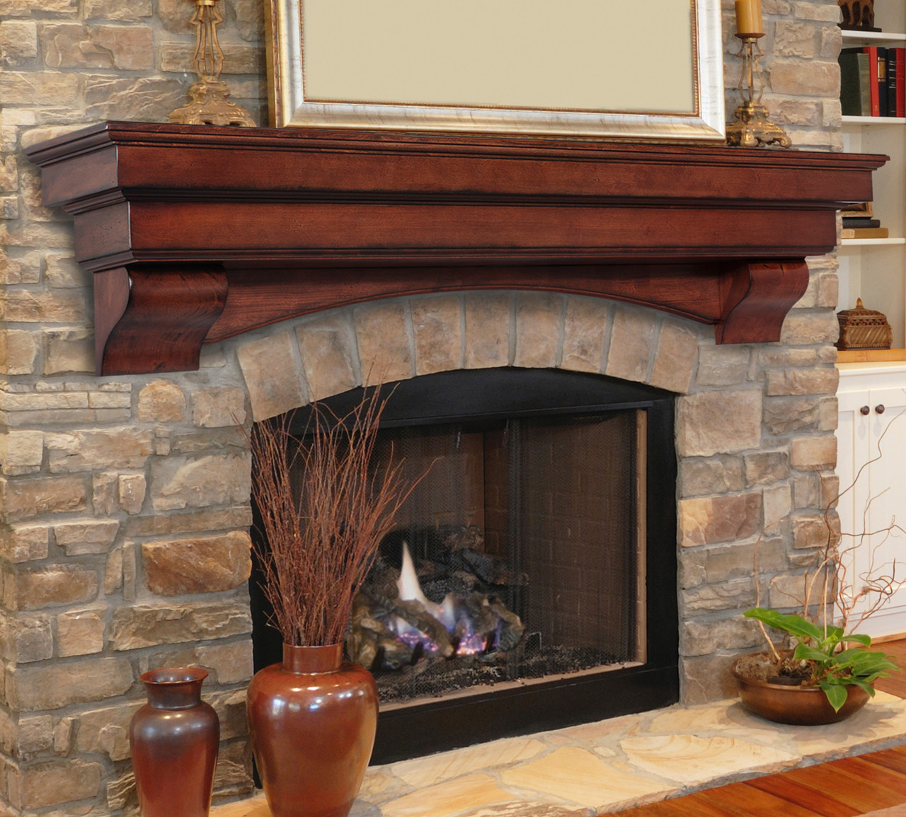 The Auburn 495 Fireplace Mantel Shelf, Life Style View 2