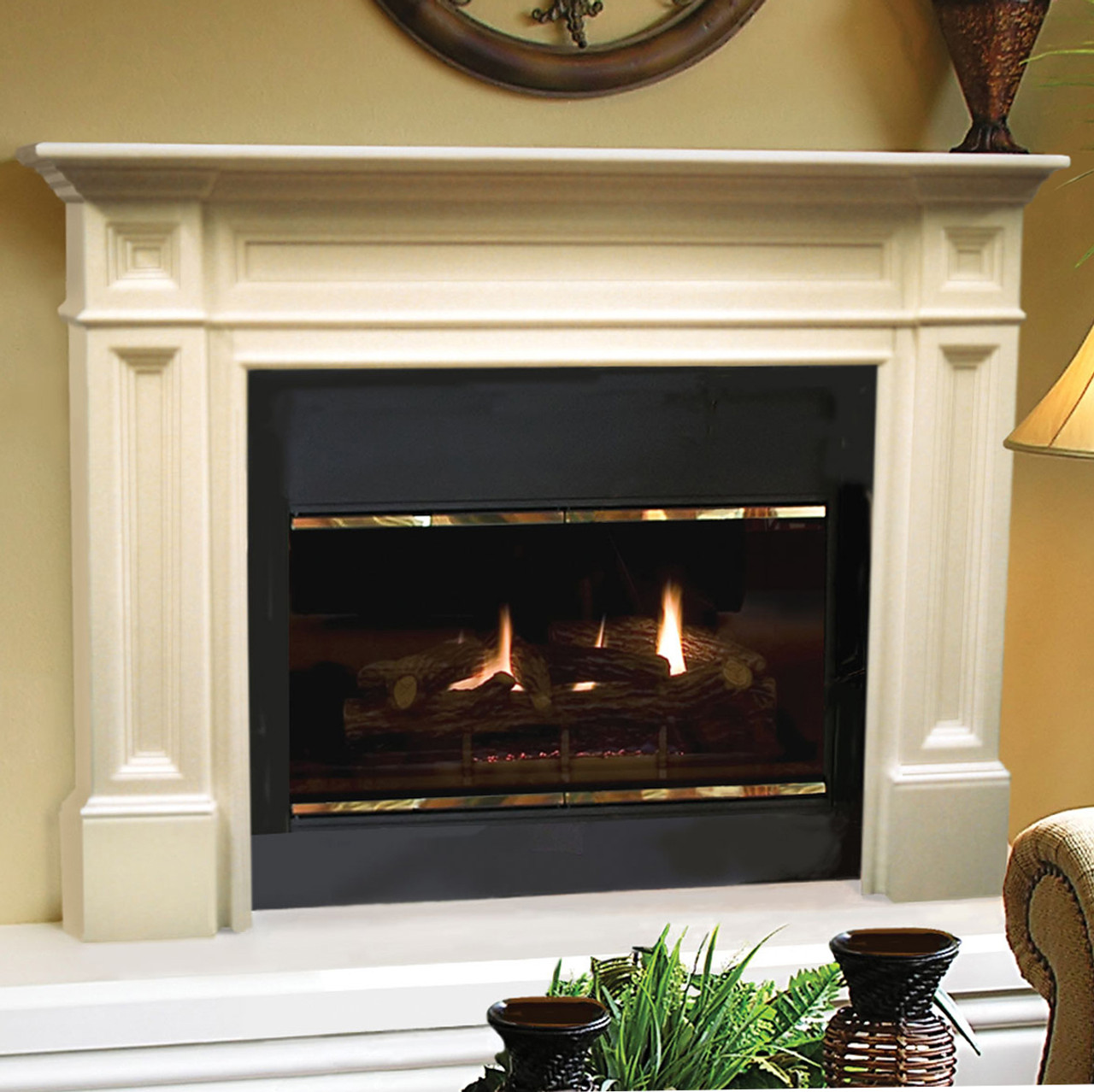 """The Classique Fireplace Mantel Surround, 56"""" (140-56), Life Style View"""