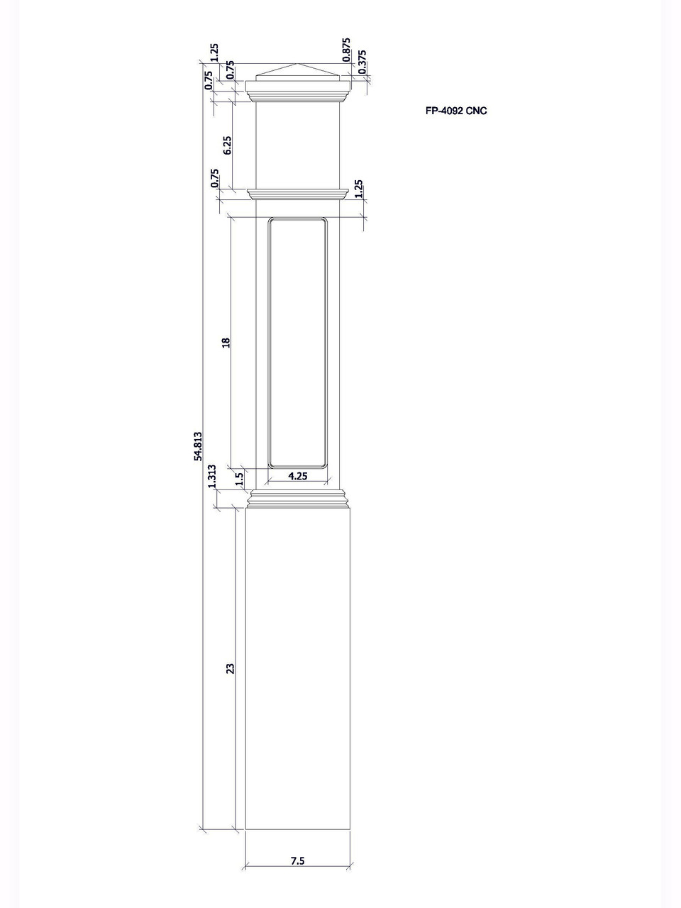 FP-4092 CNC Flat Panel Box Newel Post, CADD Image