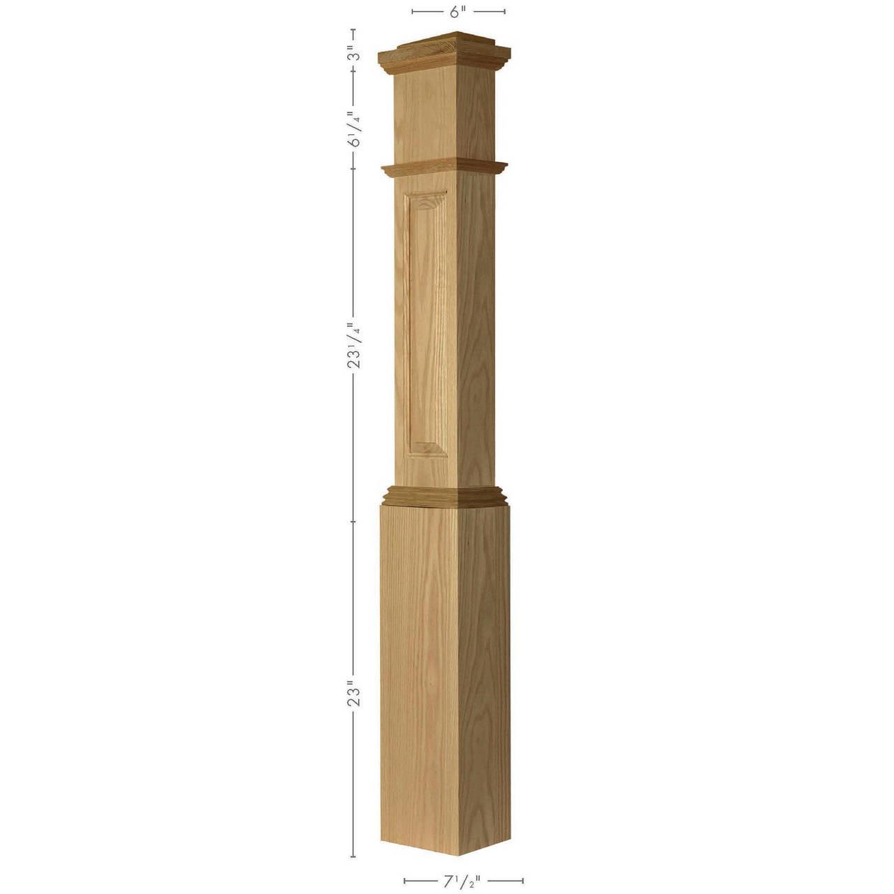 RP-4092 Red Oak Raised Panel Large HALF Box Newel Post