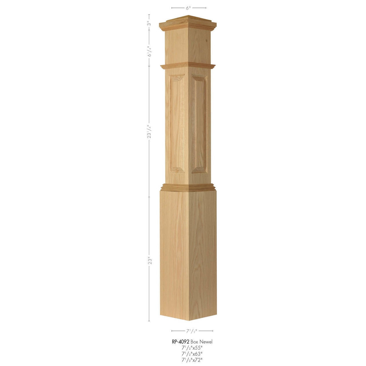 RP-4092 Primed Raised Panel Large Box Newel Post