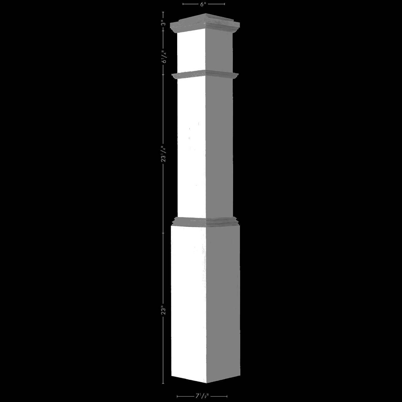 ARP-4092 Primed with Special Species Trim Actual Box Newel, Plain Illustrated