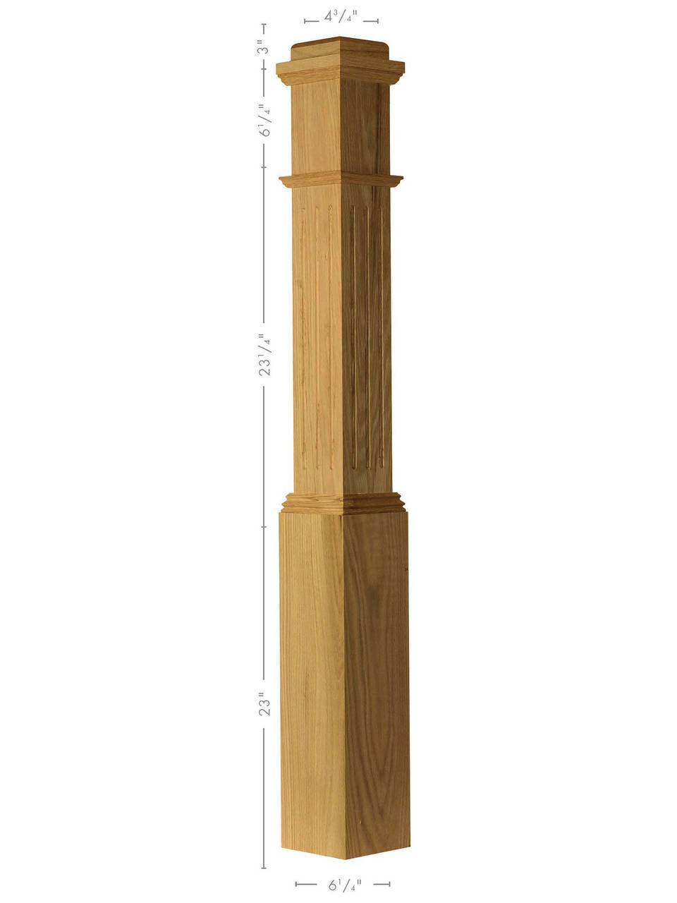 F-4091 Primed with Special Species Trim Fluted Box Newel Post (Red Oak Illustrated)