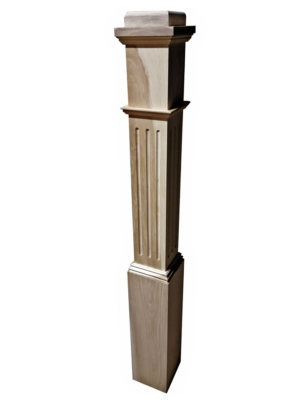 F-4091 Hard Maple, Cherry or Hickory Fluted Box Newel (Hickory)