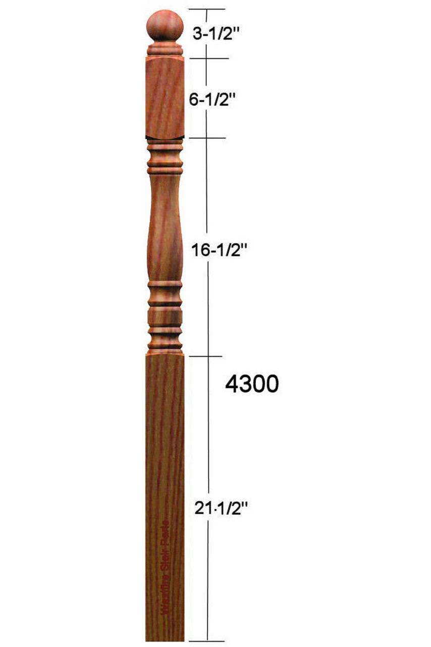 4300 Ball Top Starting Newel Post Dimensional Information