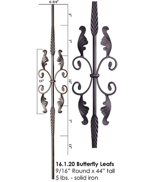 HF16.1.20 Double Feather with Leaves Round Baluster