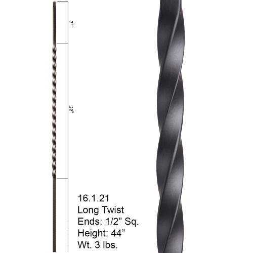 "HF16.1.21 Large 22"" Twist Iron Baluste"