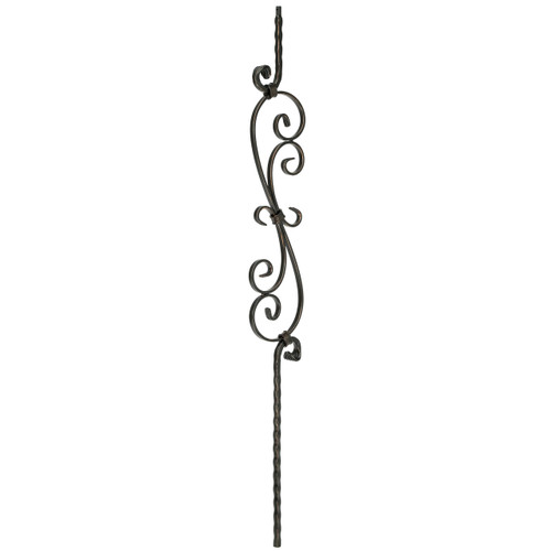 T-36 Edge Hammered S-Scroll Tubular Steel Baluster (2)