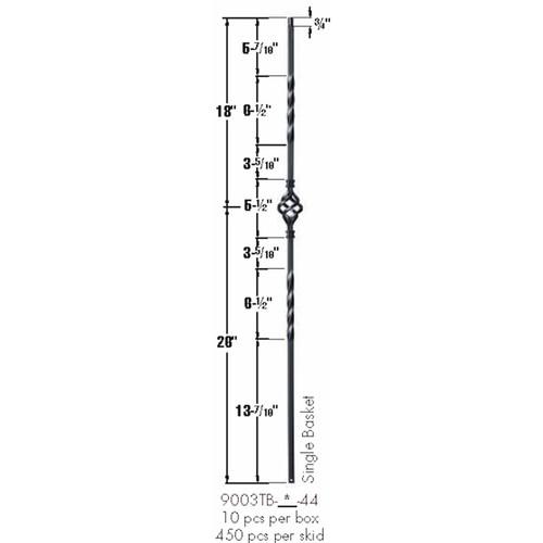 9003TB Single Basket Tubular Steel Baluster Dimensional Information