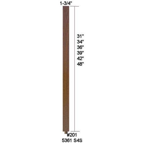 """5361 (201) 1-3/4"""" x 42"""" S4S Baluster with Dowel Pin shipped loose"""