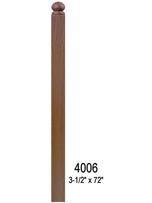 "4006BT 72"" Ball Top S4S Newel Post"