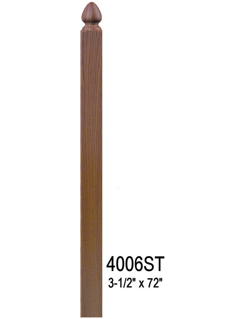 """4006ST 72"""" Spade Top S4S Newel Post"""