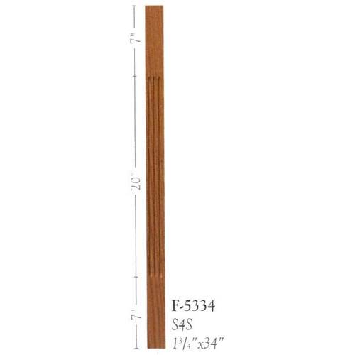"F-5334 34"" Fluted S4S Baluster"
