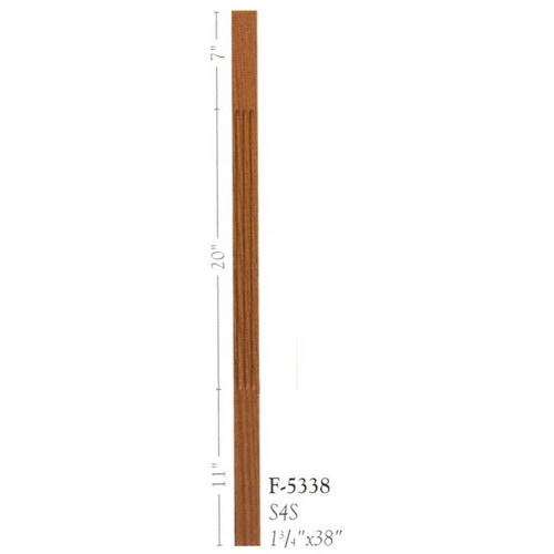 """F-5338 38"""" Fluted S4S Baluster"""